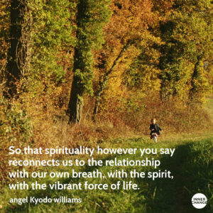Quote from angel Kyodo williams So that spirituality however you say reconnects us to the relationship with our own breath, with the spirit, with the vibrant force of life.