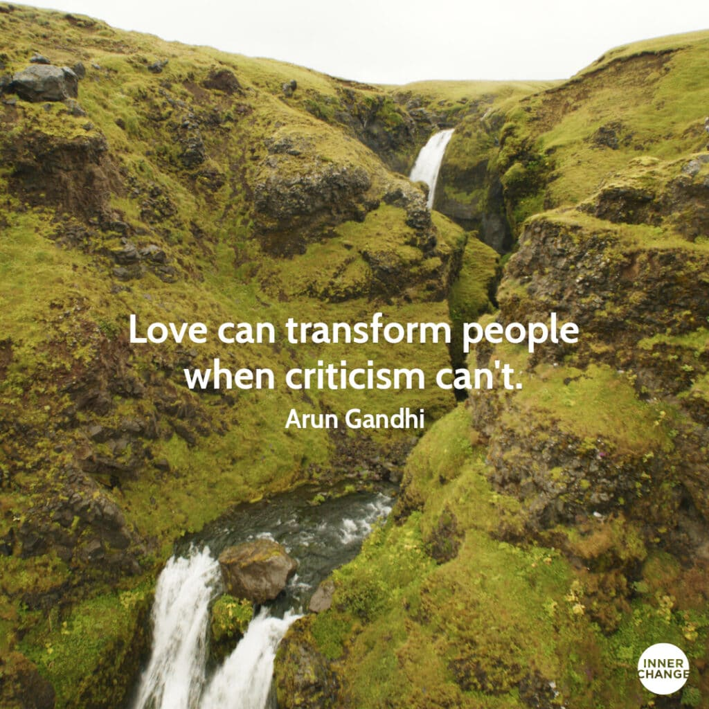 Quote from Arun Gandhi Love can transform people when criticism can't.