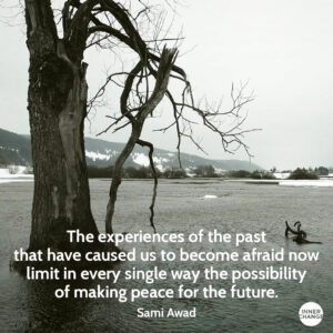 Quote from Sami Awad The experiences of the past that have caused us to become afraid now limit in every single way the possibility of making peace for the future.