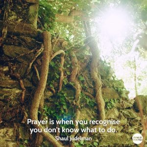 Quote from Shaul Judelman Prayer is when you recognise you don't know what to do.